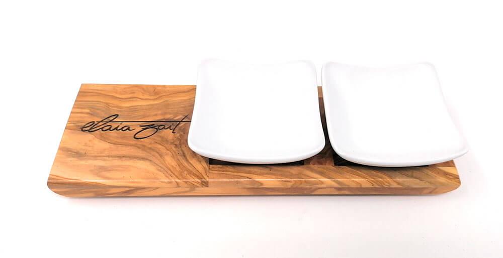 Bandeja de madera de olivo con 2 cuencos para la degustación del aceite de oliva virgen extra